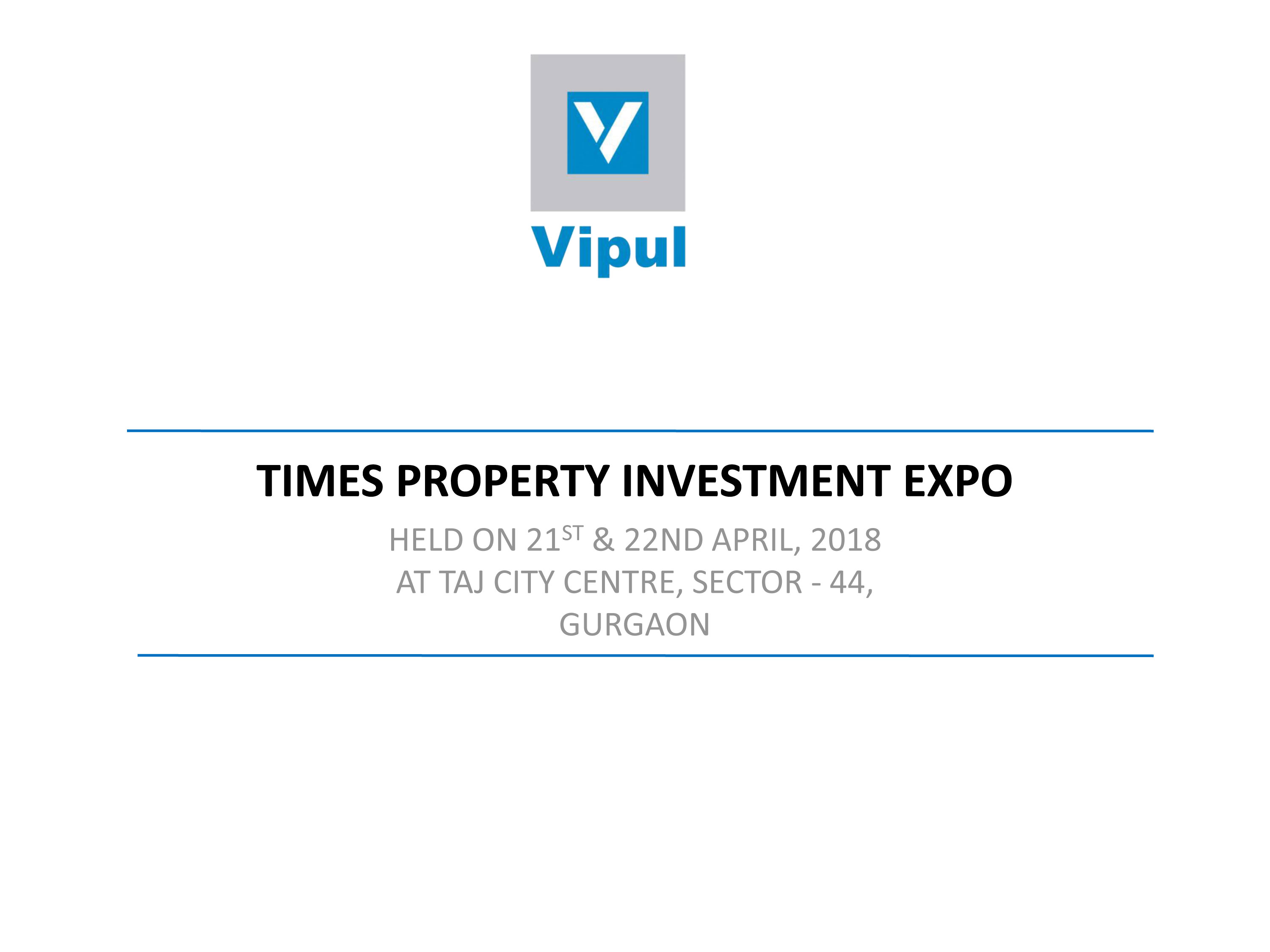 TIMES PROPERTY INVESTMENT EXPO : 21 & 22 April 18