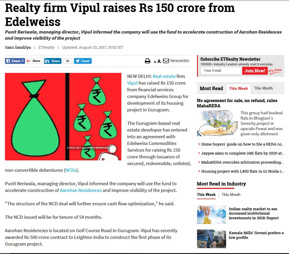 Realty firm Vipul raises Rs 150 crore from Edelweiss