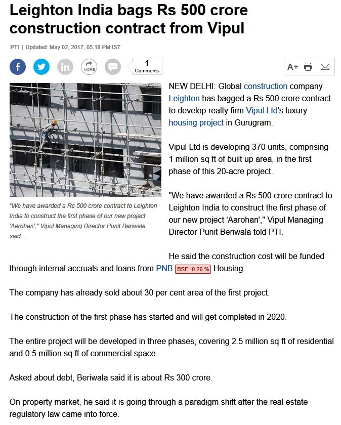 Leighton India bags Rs 500 crore construction contract from Vipul
